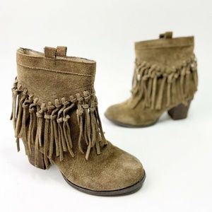 Sbicca Brown Suede Ankle Boots Fringe Western